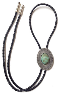 (AA2400T) Western Oval Bolo Tie with Large Turquoise Stone