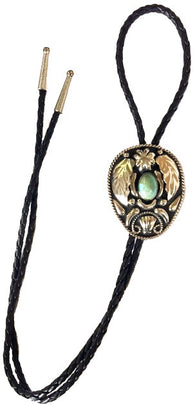 (AAAC55T) Western Silver & Black Bolo Tie With Turquoise Stone
