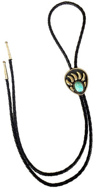 (AAAC59T) Western Bear Claw Bolo Tie with Turquoise Stone