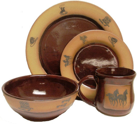 "(AAP-NWRR) ""New Western"" Single 4-Piece Hand Crafted, Made in the USA, Western Stoneware Dinner Place Setting Real Red"