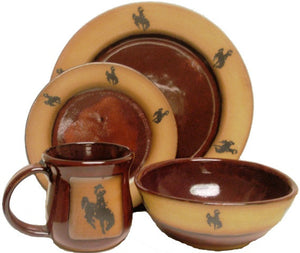 "(AAP-SBRR) ""Steamboat"" Single 4- Piece Hand Crafted, Made in the USA, Western Stoneware Dinner Place Setting Real Red"