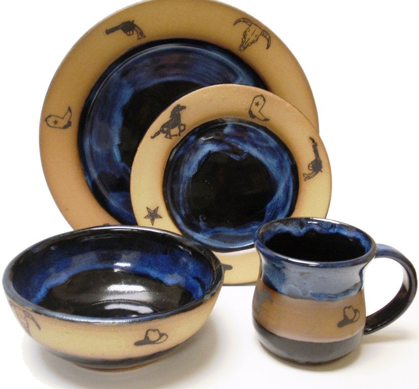 (AAP207OGB) Single 4- Piece Western, Hand Crafted, Made in the USA, Stoneware Dinner Place Setting Garcia Blue