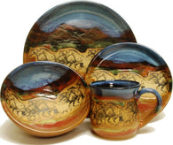"(AAPWH) ""Wild Horses"" Single 4- Piece Hand Crafted, Made in the USA, Western Stoneware Dinner Place Setting"