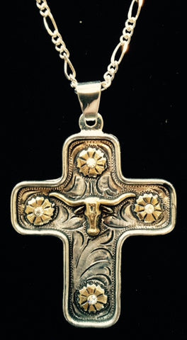 (AASNK157PC) Western Cross Necklace with Gold Longhorn & Flowers