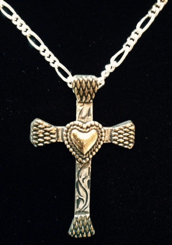 (AASNK154HT) Western Horseshoe Nail Cross Necklace with Heart