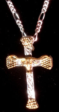 (AASNK154P) Western Gold & Silver Longhorn Nail Cross Necklace