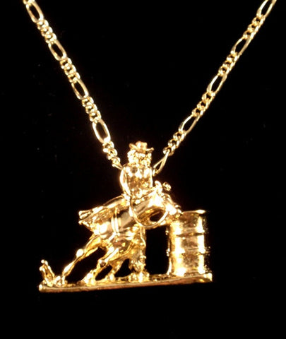 "(AASNK156G) ""Barrel Racer"" Western Gold Necklace"