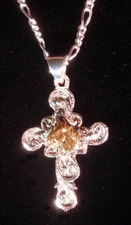 (AASNK162Q) Western Silver Cross Necklace with Gold Horsehead