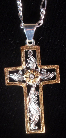 (AASNK167G) Western Cross Necklace - Gold
