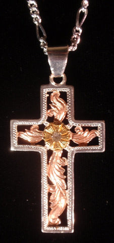 (AASNK167C) Western Cross Necklace - Gold, Silver & Copper