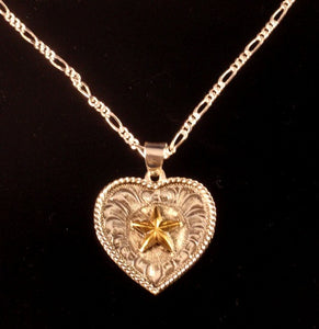 (AASNK192ST) Western Silver Heart Necklace with Gold Star