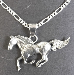 (AASNK222) Western Silver Running Horse Necklace