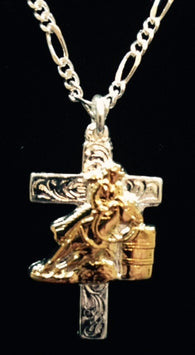 "(AASNK28) ""Barrel Racer"" Cross Necklace"