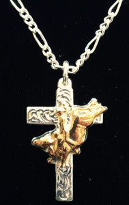 "(AASNK29) ""Bull Rider"" Cross Necklace"