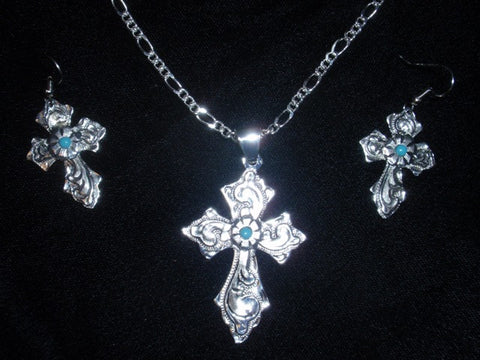 (AASNKER118T) Western Silver Cross & Matching Earrings with Turquoise Stones