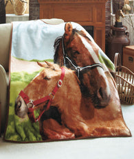 (ABC312552-3PAT-HRS) Western Plush Horse Lover's Throw