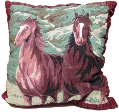 "(AHT-Q5695P) ""Horses"" Accent Pillow"