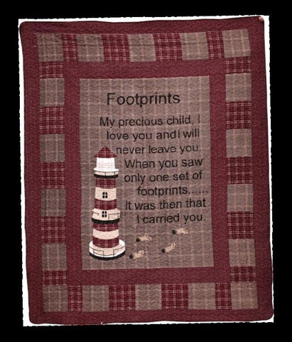"(AHT-QC15306) ""Footprints"" Inspirational Throw"