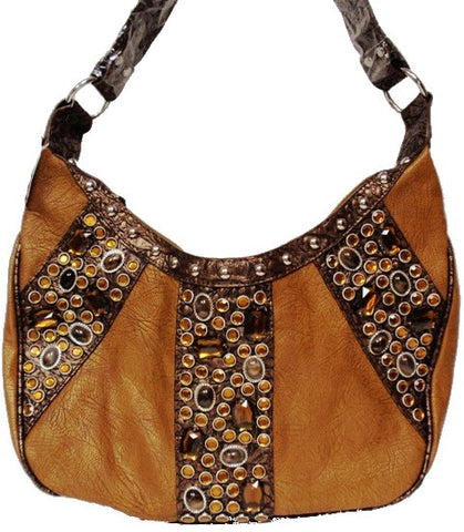 (APBO946) Western Hobo Bag with Amber Stones