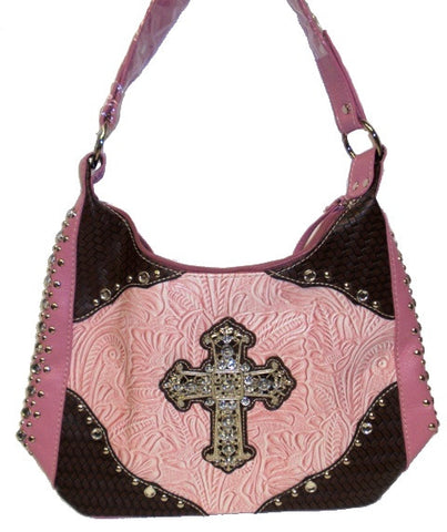 (APEW931PK) Western Two-Toned Tooled Leather Purse with Rhinestone Cross Pink