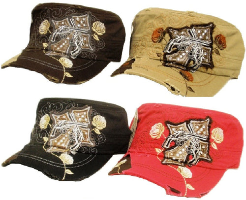 (APPAC-CPC) Vintage Patch Army Fashion Cap with Crossing Pistols & Cross