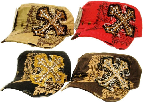 (APPAC-CW) Vintage Patch Army Fashion Cap with Cross & Wings