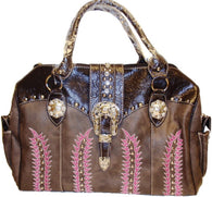 (APTW111LBN) Western Ladies' Boot Duffel Bag with Embroidery Stitching Brown