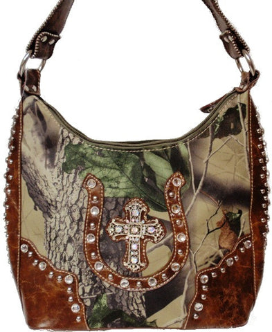 (APWD931) Western Camo Purse with Horseshoe and Cross