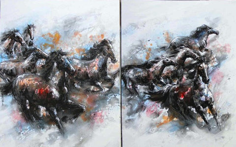 "(AU9AN0182) ""Stampeding Horses"" Western 2-Piece Gallery Wrapped Oil Painting"
