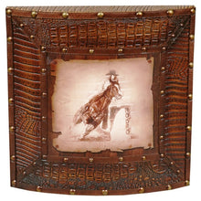 "Load image into Gallery viewer, (AUW110452) ""Barrel Racer"" Western Croc Leather Framed Rodeo Art"