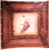 "(AUW110463) ""Bull Rider"" Western Croc Leather Framed Rodeo Print"