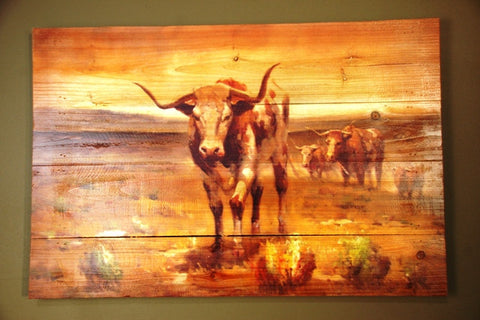"(AUW110877) ""Three Longhorns"" Western Printed Wooden Plank"