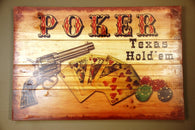 "(AUW110892) ""Texas Hold'em Poker"" Western Printed Wooden Plank"