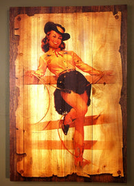 "(AUW130005) ""Showgirl with Yellow Shirt"" Western Wooden Plank Art"