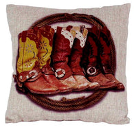 "(AUW130009) ""Three Pair of Boots"" Western Burlap Accent Pillow"