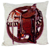 "(AUW130012) ""Saddle with Black & White Blanket"" Burlap Accent Pillow"
