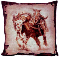 "(AUW130013) ""Steer Wrestling"" Western Burlap Accent Pillow"
