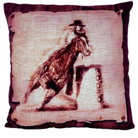 "(AUW130015) ""Barrel Racer"" Western Burlap Accent Pillow"