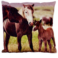 "(AUW130025) ""Family of 3 Horses"" Western Burlap Accent Pillow"