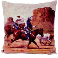 "(AUW130028) ""Team Roping Side by Side"" Western Burlap Accent Pillow"