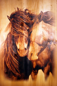 "(AUWJ13) ""Stallion and Mare"" Western Printed Wooden Plank"