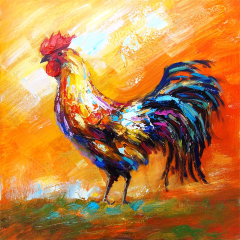 "(AUZHC172) ""Rooster Profile"" Western Gallery Wrapped Oil Painting with Textured Finish"