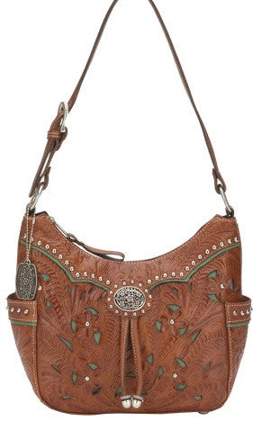 "(AWLCBT620) ""Lady Lace"" Western Zip-Top Hobo Bag"