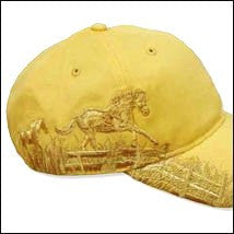(AWST-AC18) Western Embroidered Galloping Horse Cap - Mustard