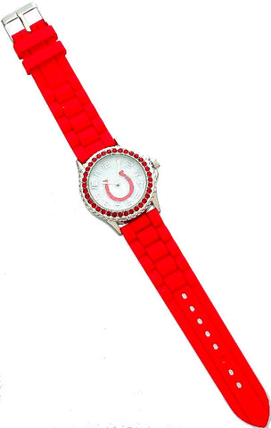(AWST-JW5573RD) Western Rhinestone Horseshoe Watch - Red