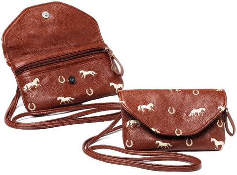 (AWST-LP401) Western String Along Cross Body Purse with Embroidered Horses Brown