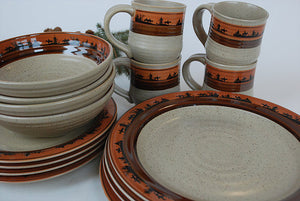"""Cowboy"" Western 16-Piece Dinnerware Set"