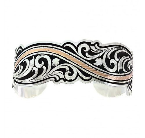 River of Rose Gold Scroll Cuff Bracelet