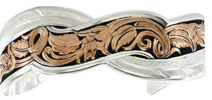 Western Two-Tone Sweeping Leather Cuff Bracelet