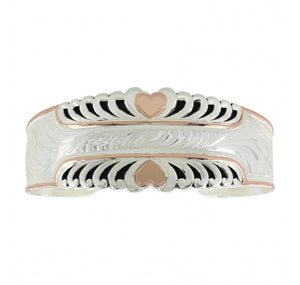 Two Tone Bright Hearts Western Cuff Bracelet